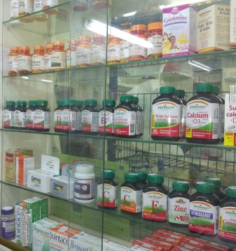 Supplements in a cabinet