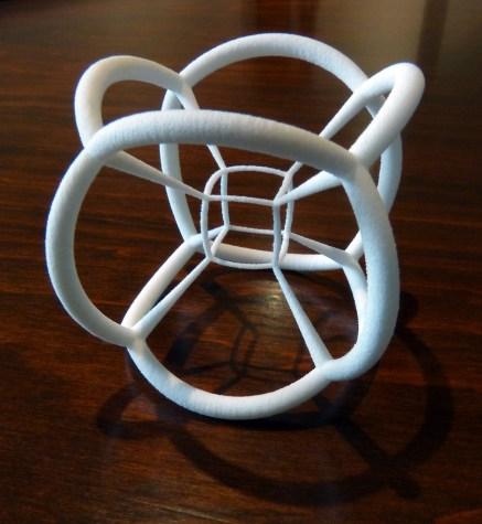 Un hipercubo, teseracto o cubo de 4 dimensiones. De nuevo lo que vemos es su representación en 3D, la sombra.
