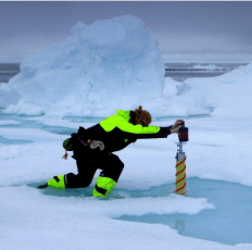 Here's an image of an artic researcher standing in a melt pond in the Arctic Ocean taken from the oceanseaicenpi instagram page. #NICE2015Arctic