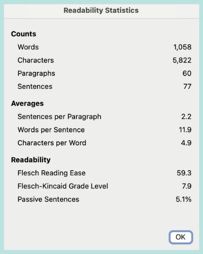 Readability statistics from Microsoft Word showing a Flesch Reading Ease score of 59.3 and a grade level of 7.9.