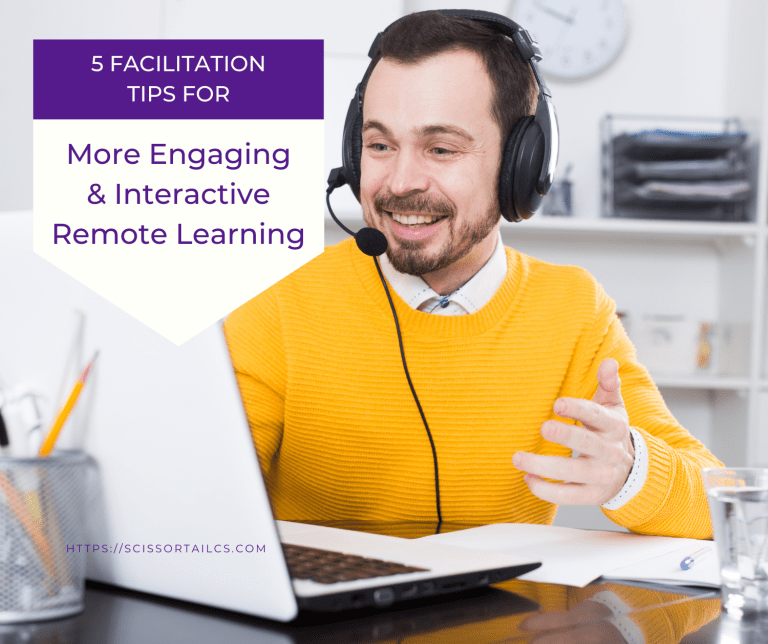 5 Facilitation Tips for More Engaging & Interactive Remote Learning. Man wearing a headset and smiling while looking at a laptop computer screen.