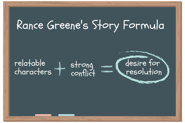 Rance Greene's Story Formula: relatable characters plus strong conflict equals desire for resolution.