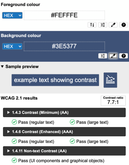 Color Contrast Analyzer Results for white text on a dark blue background showing a 7.7 to 1 contrast ratio. WCAG 2.1 results show that it passes all requirements.