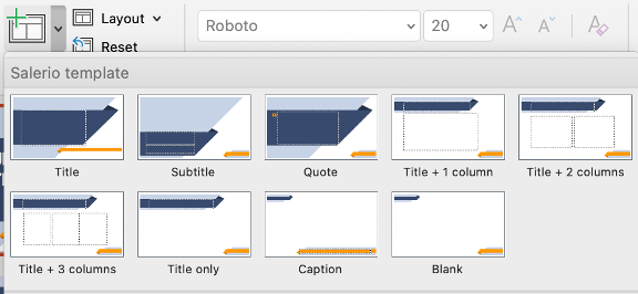 """screenshot of layout masters in PowerPoint, from a dropdown list linked to the """"Insert Slide"""" option on the Home tab"""