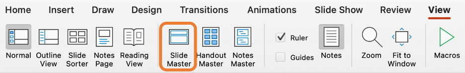 screenshot of the View tab in PowerPoint with the Slide Master option highlighted