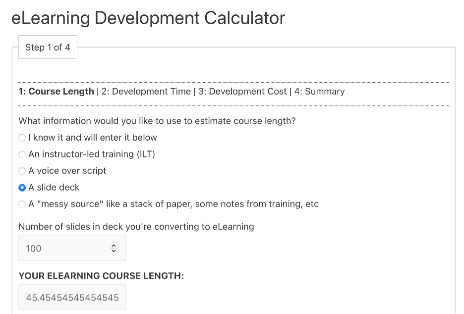eLearning Development Calculator screenshot of step 1, course length