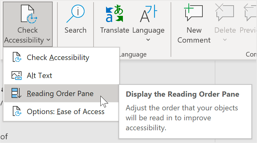 """PowerPoint screenshot of the Check Accessibility dropdown menu with four options: Check Accessibility, Alt Text, Reading Order Pane, and Options: Ease of Access. Reading Order Pane is selected and a callout reads """"Display the Reading Order Pane. Adjust the order that your objects will be read in to improve accessibility."""""""
