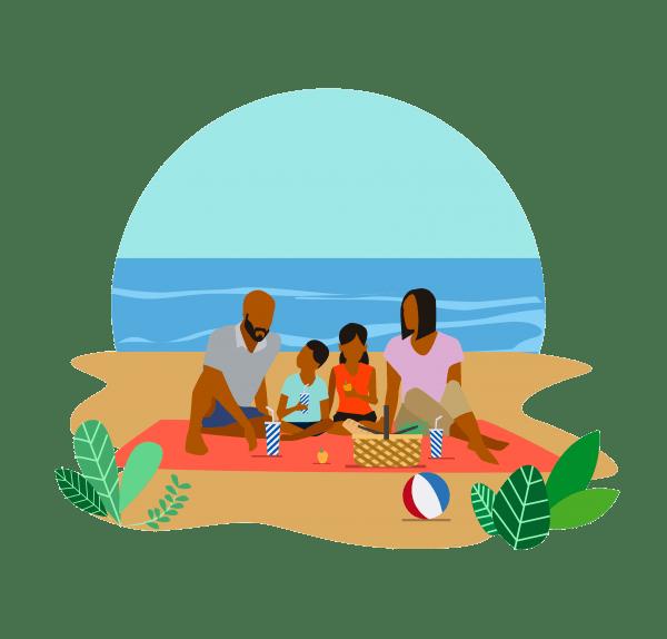 Black Couple Picnic on the Beach