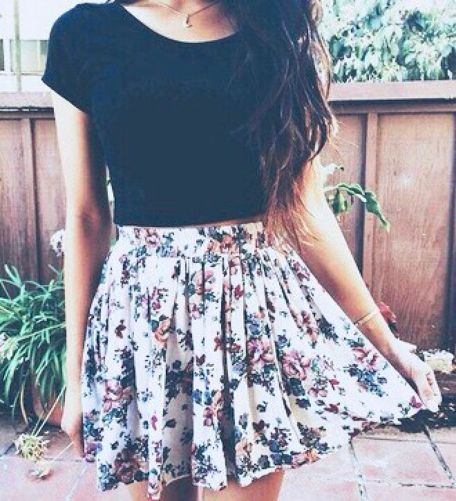 black tee and floral skirt