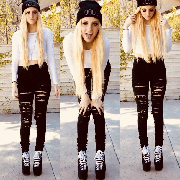 ripped black jeans outfit 3