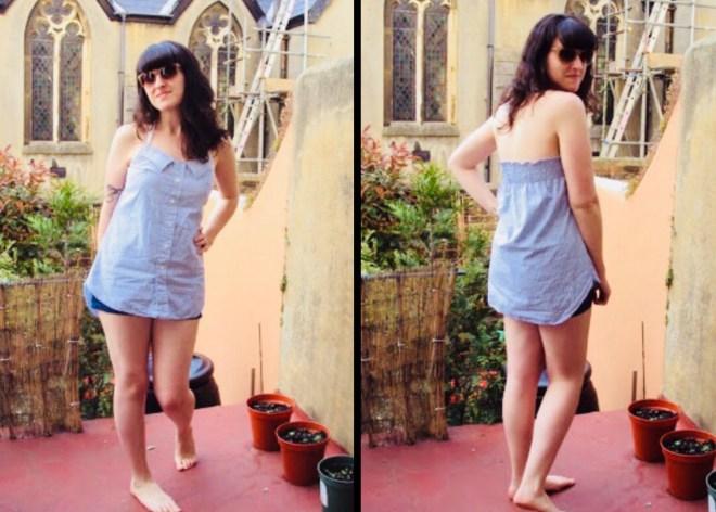 halter neck dress from shirt
