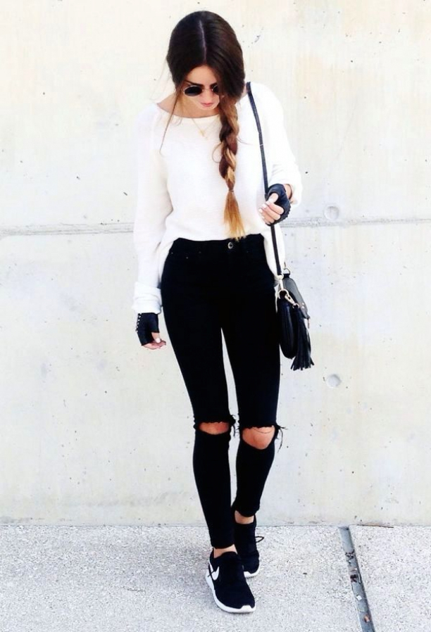 cute outfit with ripped jeans