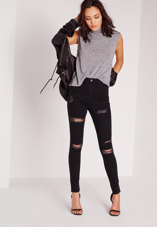 ripped black jeans outfit ideas