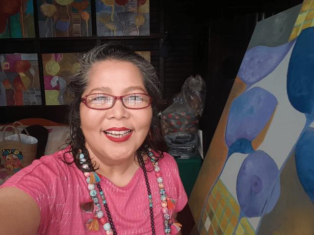 Bernadette De lost Santos bag on painting
