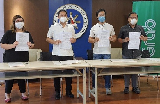 Grab, Quezon City, tie-up, partnership, Covid-19