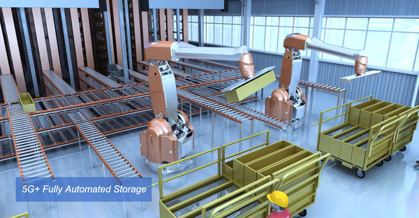 5G+ Fully Automated Storage at Changde CRRC New Energy Vehicle Dark Smart Factory.
