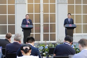 Huawei executives at its media briefing in Shenzhen, China.
