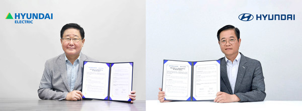 Saehoon Kim, Head of Hyundai Motor Group Fuel Cell Center (Right) and Seok Cho, President and CEO of Hyundai Electric signed a Memorandum of Understanding between the two organizations.