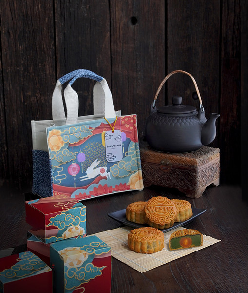 The Westin Surabaya presents limited-edition mooncake inspired by Chinese Book Tote Bag in the pattern of Chinese Lanterns symbolize good fortune & The Jade Rabbit as a companion to Chang E on the moon