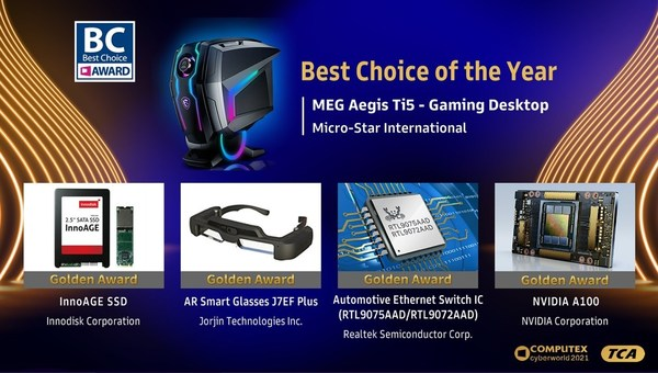 The Best Choice of the Year Award winner: MSI MEG Aegis Ti5 Gaming Desktop with the 4 winners of the Golden Award: Innodisk InnoAGE SSD, Jorjin AR Smart Glasses J7EF Plus, Realtek Automotive Ethernet Switch IC, and NVIDIA A100. Although the products have different applications in different industries; they all showcase innovation and technological excellence as well as possessing great market potential.