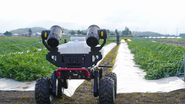 XAG R150 Unmanned Ground Vehicle working on Japan's watermelon farm