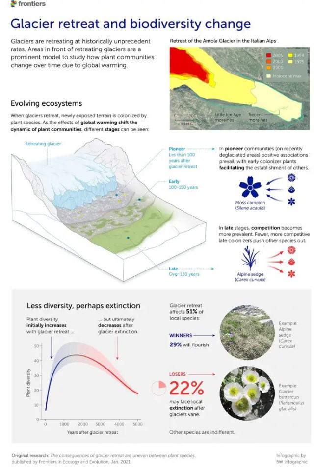 Biodiversity is threatened when glaciers melt