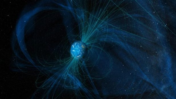 Lines of the Earth's magnetic field