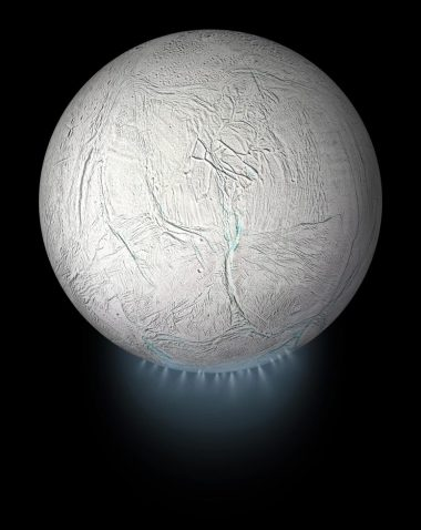 Enceladus Global View With Plume