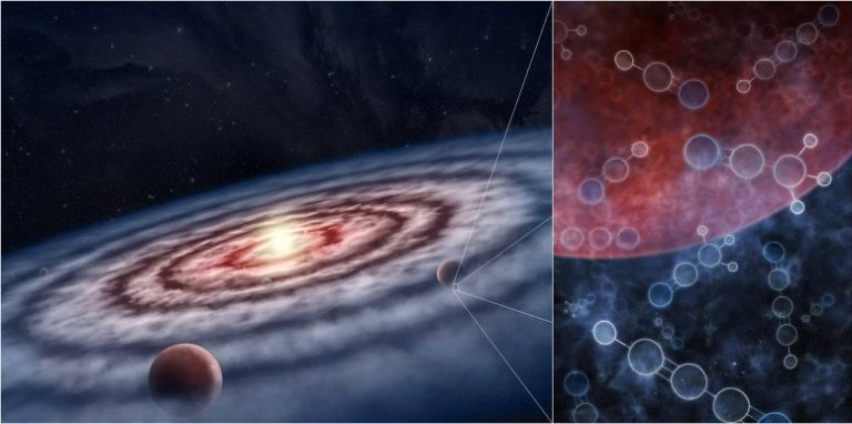 Gas and Dust in Protoplanetary Disk Surrounding Young Star