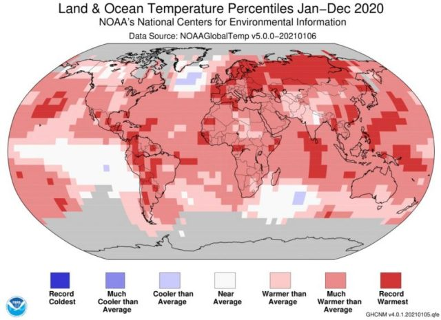 Percentage of land and sea temperature in 2020