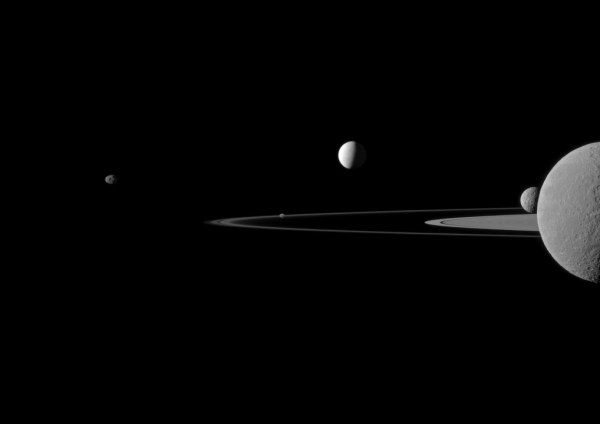 New Cassini Image of Saturn's Rings and Moons