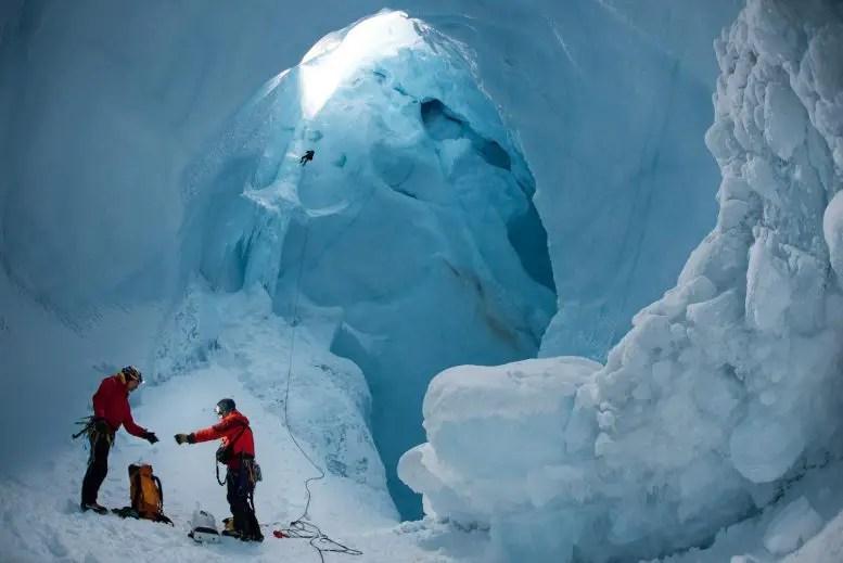 Researchers Inside Moulin Greenland Ice Sheet