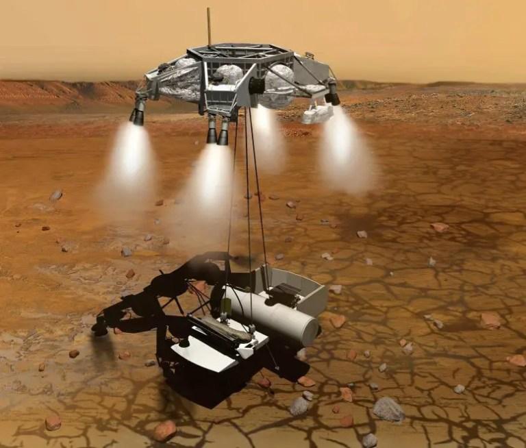 Sample Return Mission Landing on Mars for a Short Stay