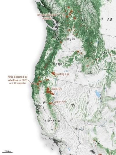 US West Coast Fire Hotspots 2021