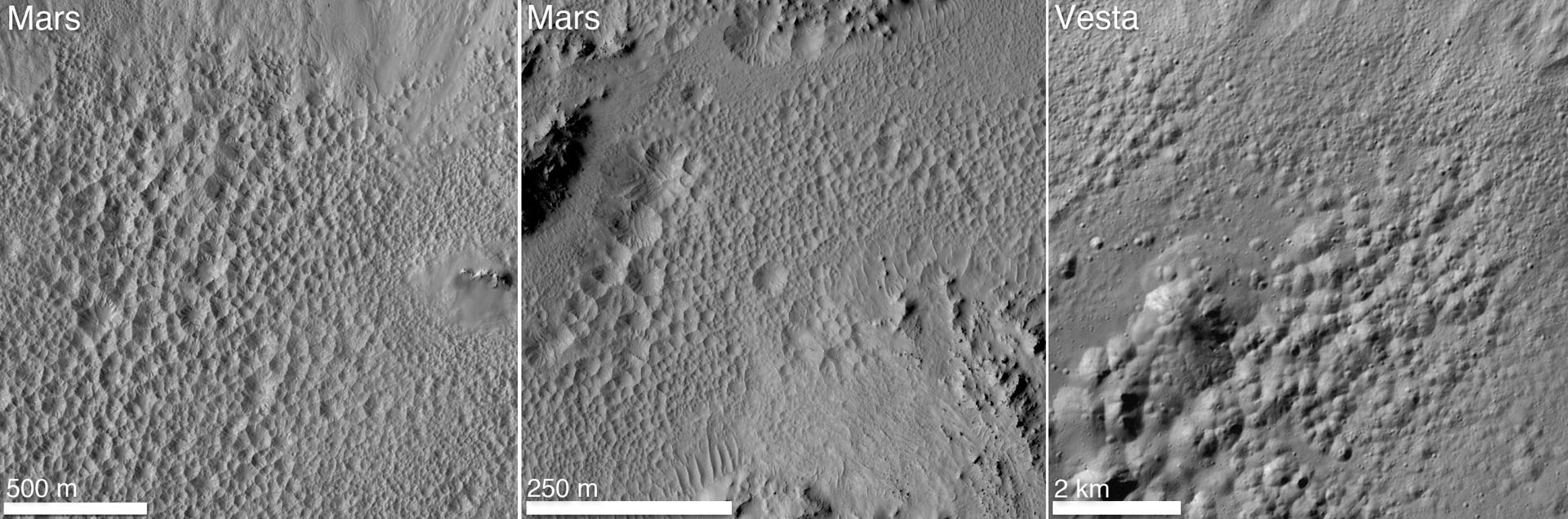 "A distinctive ""pitted terrain"" observed by NASA's Dawn mission on Vesta has also been seen on Mars. Image credit: NASA/JPL-Caltech/University of Arizona/MPS/DLR/IDA/JHUAPL"