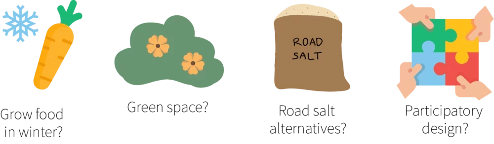 Four illustrations showing a carrot and snowflake, a bush with flowers, a bag of road salt, and hands putting together puzzle pieces.