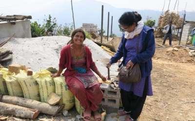 Reconstruction work in progress at Jhamire Village