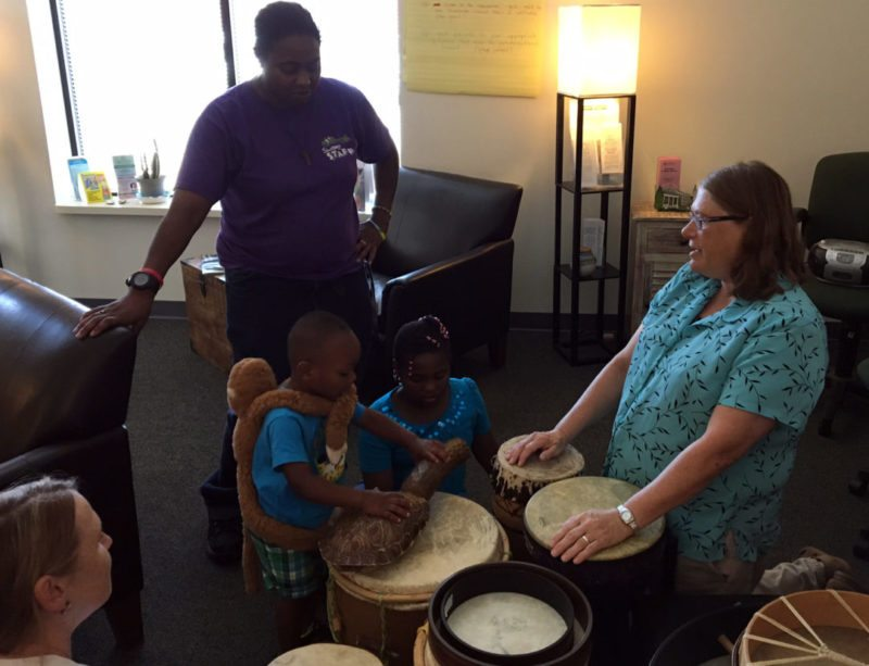 Sister Valerie leads drumming groups