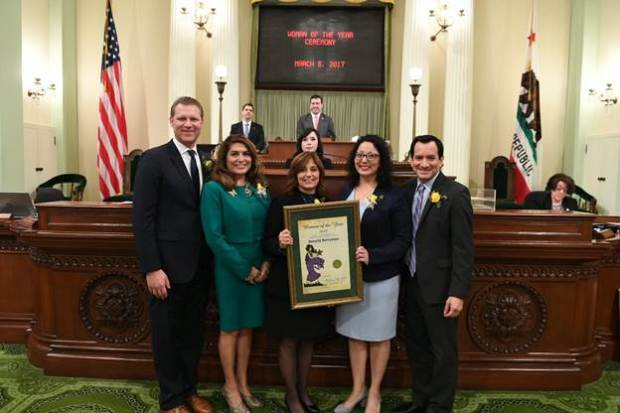 Fullerton School District board member Beverly Berryman, center, was recognized by the California State Assembly as her district's woman of the year. (Courtesy of the California State Assembly)