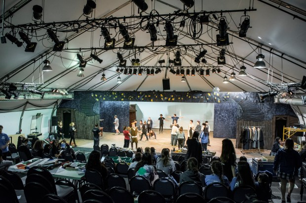 "The giant tent theater at Santa Margarita Catholic High School is prepared for the production of ""Fiddler on the Roof"" in Rancho Santa Margarita on Friday, March 31, 2017. Due to the lack of backstage space the orchestra pit is offsite in a band room. (Photo by Leonard Ortiz, Orange County Register/SCNG)"