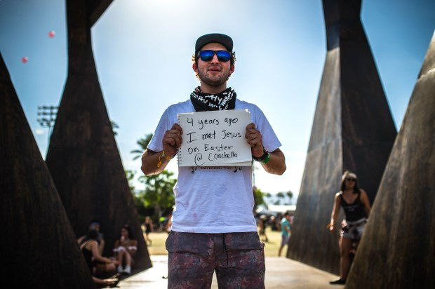 "Matt Lawer, 22, of Tustin, celebrated his third year going the Coachella Valley Music and Arts Festival. The thing he noticed this year is that there are a lot more people. ""I just keep coming back for the vibes."" (Photo by Watchara Phomicinda, The Press-Enterprise/SCNG)"