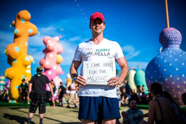 "Brian Andries, 29, of North Hollywood, came to the Coachella Valley Music and Arts Festival for the music on Sunday, April 16, 2017. ""I grew up going to Warped Tour and that's what it was all about,"" he said. His favorite moment was when the singer from Bastille walked into the crowd on Saturday afternoon. Andries took off his sunglasses and made eye contact with him. They had a moment. (Photo by Watchara Phomicinda, The Press-Enterprise/SCNG)"
