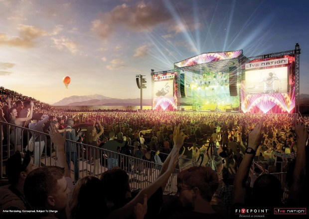 In March, the council approved FivePointÕs proposal to open a 12,000-seat temporary amphitheater adjacent to the Great Park, while the city figures out its plan to build a permanent amphitheater. (Rendering courtesy of FivePoint)