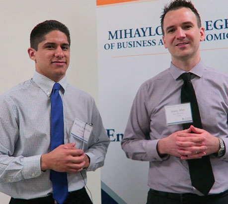 Reuben Ponce De Leon, left, and Jonny May won the CSUF Business Plan Competition. (Photo courtesy of Cal State Fullerton)