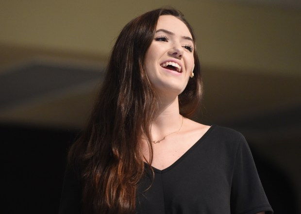"""Autumn Manson of the Ripple Theater Project performs during the """"Broadway Time Machine"""" revue for students at Bryn Mawr Elementary School in Loma Linda, Ca., Thursday, April 26, 2017. The performance was part of The Redlands Bowl Music in the Schools program. (Photo by John Valenzuela/Redlands Daily Facts/SCNG)"""