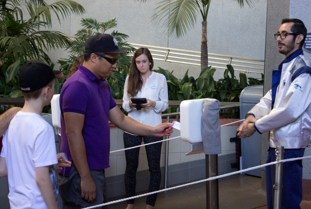 A new type of Fastpass reader could be coming to Disneyland, like this one tested for Space Mountain. (File photo by: Mark Eades, Orange County Register/SCNG)