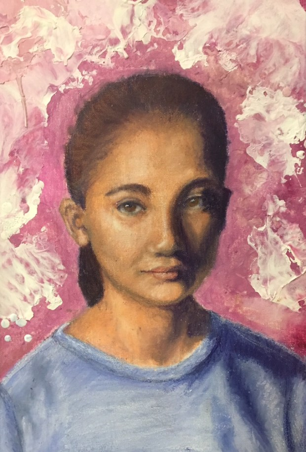 """Students in middle and high schools throughout Tustin entered artwork in the annual Tustin Area Council for Fine Arts Invitational. Megan Hall, an 11th grader at FoothillHigh School, earned a first place for her acrylics and watercolor painting, """"Portrait of Layla."""""""