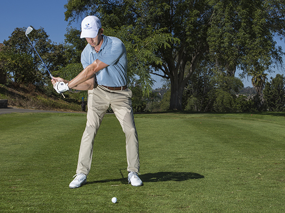 Pumping the club will help you find the right downswing path.