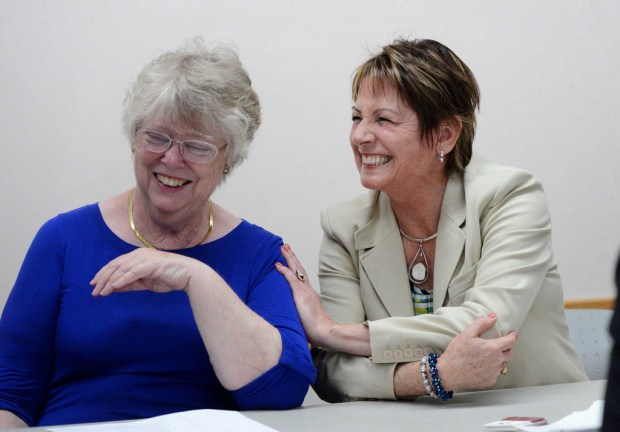 Pauline Abbott and Di Patterson share a laugh at the Careers in Aging event. (Photo by Bill Alkofer,Orange County Register/SCNG)