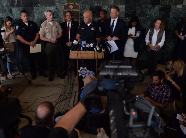 San Bernardino Police Chief Jarrod Burguan speaks at a press conference on Tuesday, April 11, 2017, the day after a murder-suicide shooting at North Park Elementary School in San Bernardino.
